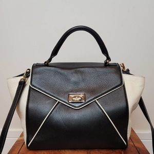 Kate Spade Leather Satchel Black and White